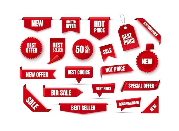 Etykiety rabatowe i tagi tagi nowej oferty odznaki bestsellerów