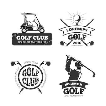 Etykiety retro golf, emblematy, odznaki i logo. banery ze sportowymi zestawami
