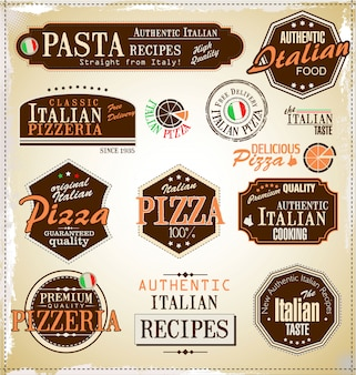 Etykiety retro pizzy