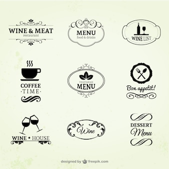 Etykiety rocznika wina, restauracji i kawy