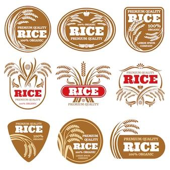 Etykiety ryżu ekologicznego z niełuskanego ziarna. zdrowi karmowi logowie odizolowywający