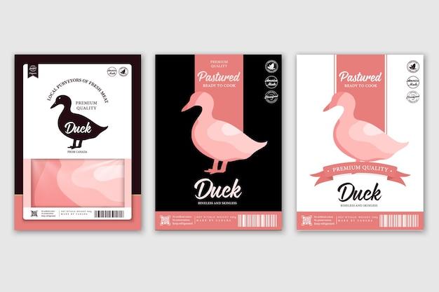 Etykiety rzeźnicze z sylwetkami zwierząt gospodarskich krowa kurczak świnia jagnięcina indyk i kaczka ikony i mięso