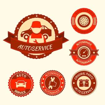 Etykiety samochodowe auto serwis odznaki emblematy zestaw ilustracji wektorowych na białym tle