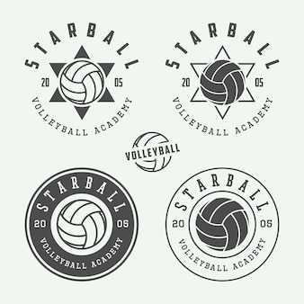 Etykiety siatkarskie, emblematy, logo.