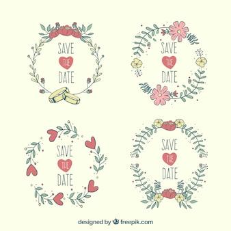 Etykiety ślubne z kwiatami wyciągniętymi ręcznie