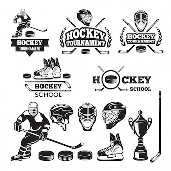 Etykiety sportowe dla drużyny hokejowej.