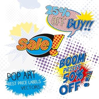 Etykiety sprzedaży pop art komiks onomatopeja