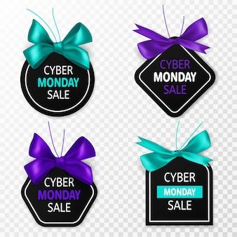 Etykiety sprzedaży w cyber poniedziałek. promocyjne metki z niebiesko-fioletową kokardką i jedwabną wstążką. duże wyprzedane banery marketingowe, naklejki signage lub kupon na świąteczną zniżkę wektor zestaw izolowanych szablonów