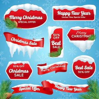 Etykiety świąteczna wyprzedaż