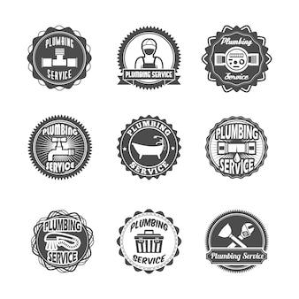 Etykiety usługi sanitarne z wodociągiem hydraulik i narzędzia izolowane ilustracji wektorowych