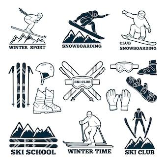 Etykiety ustawione dla klubu narciarza.