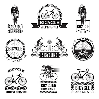 Etykiety ustawione na klub rowerowy. projekt logo sportowego velo