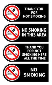 Etykiety ustawione zakaz palenia