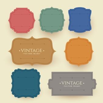 Etykiety vintage frame w kolorach retro