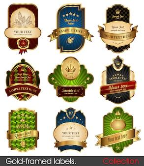 Etykiety w złotych ramkach - 9 pozycji na różne tematy. premium elementy projektu.