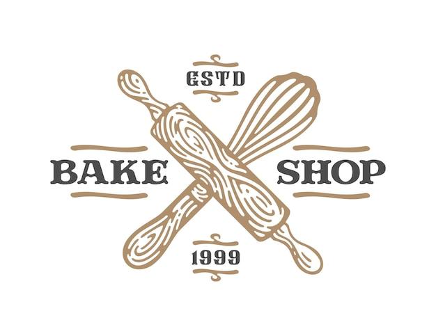 Etykiety wałka do ciasta i trzepaczki mają kształt krzyża w doodle vintage ilustracji.