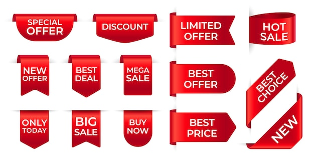 Etykiety z czerwoną wstążką. zakupy ekskluzywny zestaw czerwonych etykiet