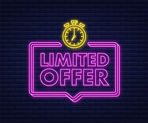 Etykiety z limitowaną ofertą logo z odliczaniem budzika ikona neonowa odznaka z limitowaną ofertą czasową