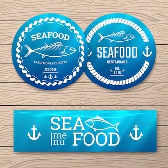 Etykiety z owocami morza