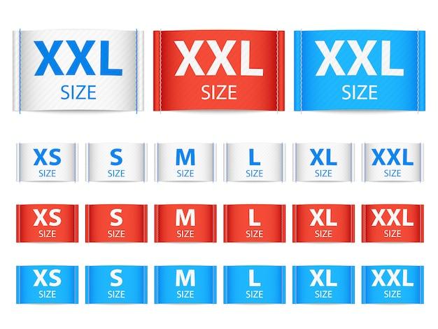Etykiety z wstążkami z tkaniny, etykiety odzieżowe z kolekcją rozmiarów