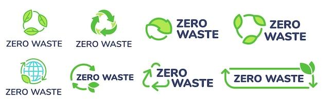 Etykiety zero waste. zielona etykieta przyjazna dla środowiska, zmniejsz ilość odpadów i ikona recyklingu z zestawem liści roślin.