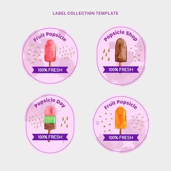 Etykiety żywności w stylu akwareli