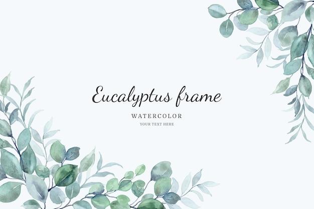 Eukaliptus pozostawia tło ramki z akwarelą