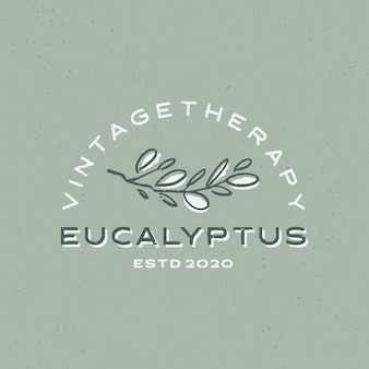 Eukaliptusa rocznika logo ikona ilustracja