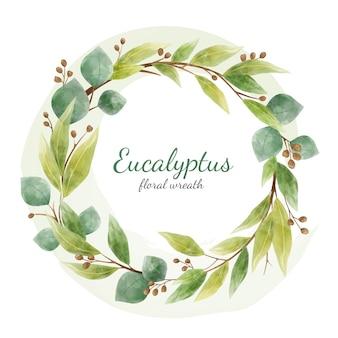 Eukaliptusowe kwiatowe gałęzie i liście okrągły wieniec. element projektu karty na białym tle. styl akwareli