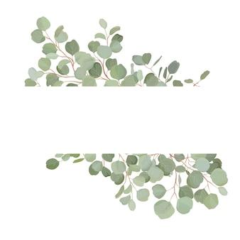 Eukaliptusowy wieniec kwiatowy z liści akwareli zieleni. ilustracja wektorowa rocznika transparent lato. nowoczesne zaproszenie na ślub, modna kartka z życzeniami, luksusowy design