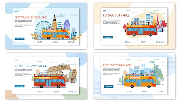 Europa i usa travel tour płaskie wektor banery internetowe