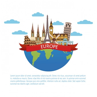 Europa podróży plansza wektor ilustracja projekt graficzny