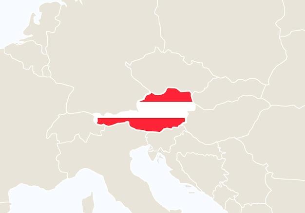 Europa z podświetloną mapą austrii. ilustracja wektorowa.