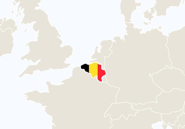Europa z podświetloną mapą belgii. ilustracja wektorowa.