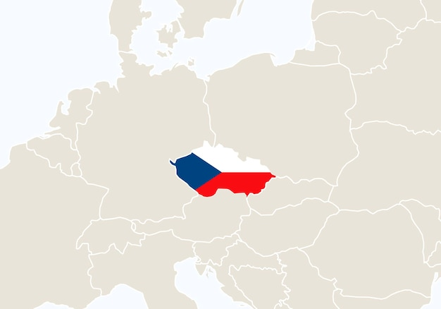 Europa z podświetloną mapą czech. ilustracja wektorowa.