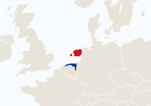 Europa z podświetloną mapą holandii. ilustracja wektorowa.