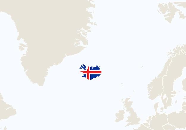 Europa z podświetloną mapą islandii. ilustracja wektorowa.