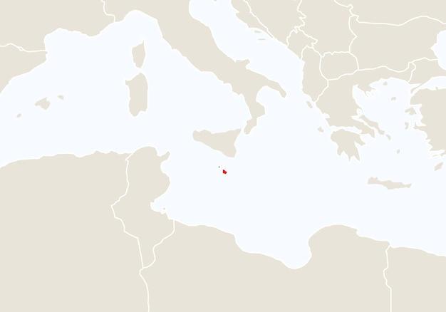 Europa z podświetloną mapą malty. ilustracja wektorowa.