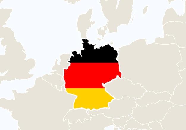Europa z podświetloną mapą niemiec. ilustracja wektorowa.