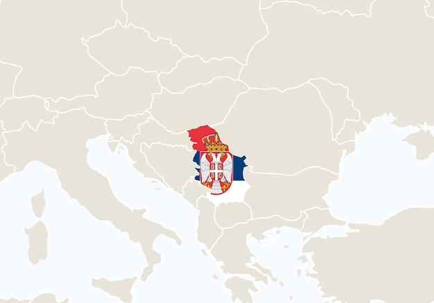 Europa z podświetloną mapą serbii. ilustracja wektorowa.