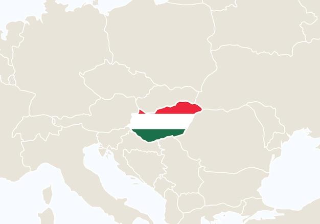 Europa z podświetloną mapą węgier. ilustracja wektorowa.