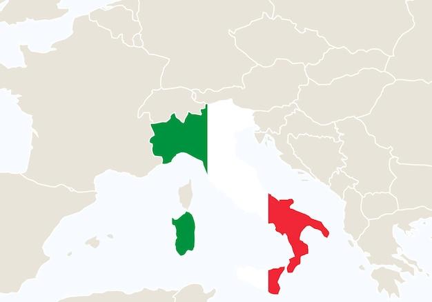 Europa z podświetloną mapą włoch. ilustracja wektorowa.