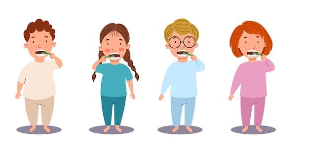 Europejscy chłopcy i dziewczęta myją zęby. dzieci to higiena. dziecko ze szczoteczką do zębów. ilustracja wektorowa w stylu płaskiej