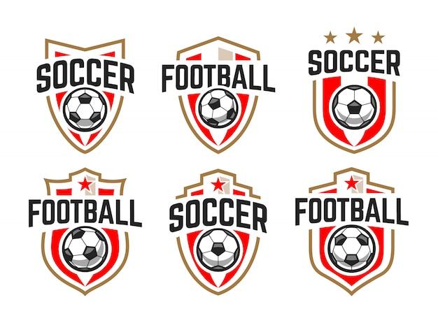 Europejska piłka nożna klasyczne herby wektor zestaw.