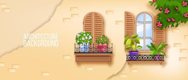 Europejskie okna starego miasta, ceglany mur, rośliny domowe, drewniane okiennice, kwitnące drzewo, bluszcz.