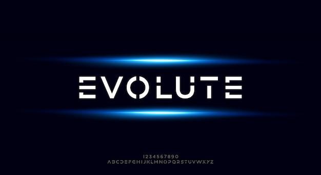 Evolute, abstrakcyjna futurystyczna czcionka alfabetu z motywem technologicznym. nowoczesny minimalistyczny projekt typografii