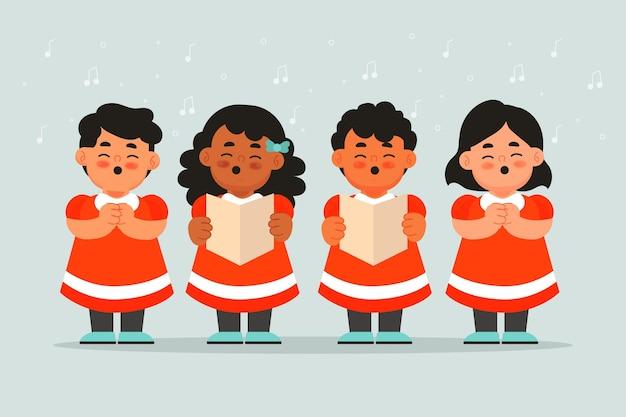 Ewangelia boże narodzenie ilustracja chór