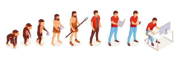 Ewolucja człowieka małpy do współczesnego człowieka przy komputerze. ewolucja ludzi i zmiana życia przechodzą od małp i jaskiniowców do inteligentnego umysłu i technologii