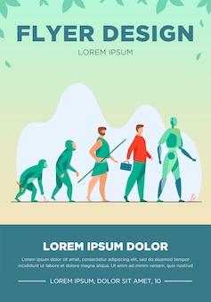 Ewolucja człowieka od małpy do cyborga. prymas, przodek, jaskiniowiec, homo sapience, niepełnosprawny mężczyzna z protezą, robot. ilustracja wektorowa dla antropologii, historii, koncepcji rozwoju