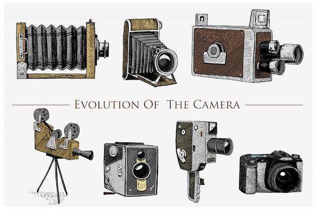 Ewolucja fotografii, wideo, filmu, kamery filmowej od pierwszego do teraz rocznika, grawerowane ręcznie rysowane w stylu szkicu lub cięcia drewna, stary wygląd soczewki retro, na białym tle realistyczna ilustracja